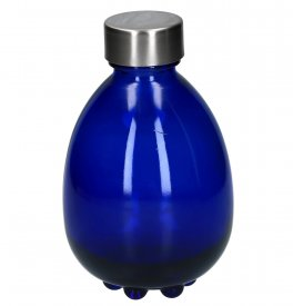 "Bottiglia VitBot ""Egg of Life"" - Vetro Blu Cobalto + Tappo Inox 18/8"