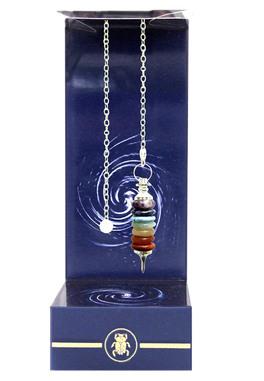 Pendolo Sette anelli Chakra - Deluxe Seven Rings of Chakras Pendulum