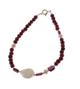 Bracciale in Granato + Perla Bianca e Argento 925