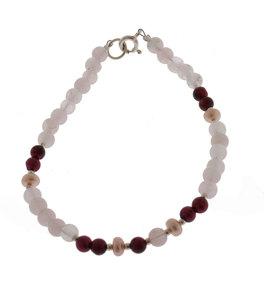 Bracciale Quarzo Rosa + Perla + Granato con Argento 925