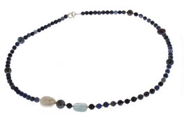 Collana in Sodalite, Ematite, Perla Grigia e Perla Bianca, Acquamarina e Argento 925