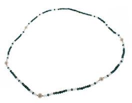 Collana/bracciale Cristalli Swarovski + 5 Perle Bianche Naturali e Argento 925