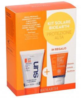 Kit Solare Bioearth - Protezione Alta - Crema solare Spf 30 + Shampoo Doccia in Regalo