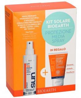 Kit Solare Bioearth - Protezione Media - Crema solare Spray 25 SPF + Shampoo Doccia solare in Regalo