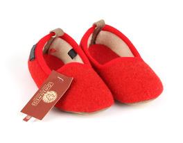 Pantofola Con Suola Toppe - Pura Lana - Rosso - Taglia 25