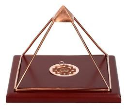 """Piramide Nobile """"Shri Yantra"""" con Base di Legno"""