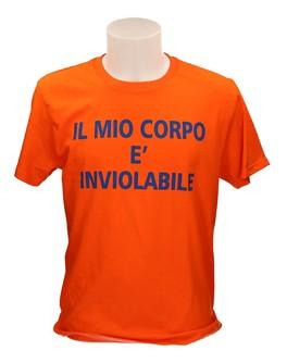 T-shirt Arancione - Il Mio Corpo è Inviolabile - Taglia Xl