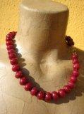 Collana in Rubino naturale pietre grandi rondelle facet - Cod 7