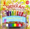 Stencil Art + 72 maschere Stencil + 8 colori + 8 tamponi - Libro