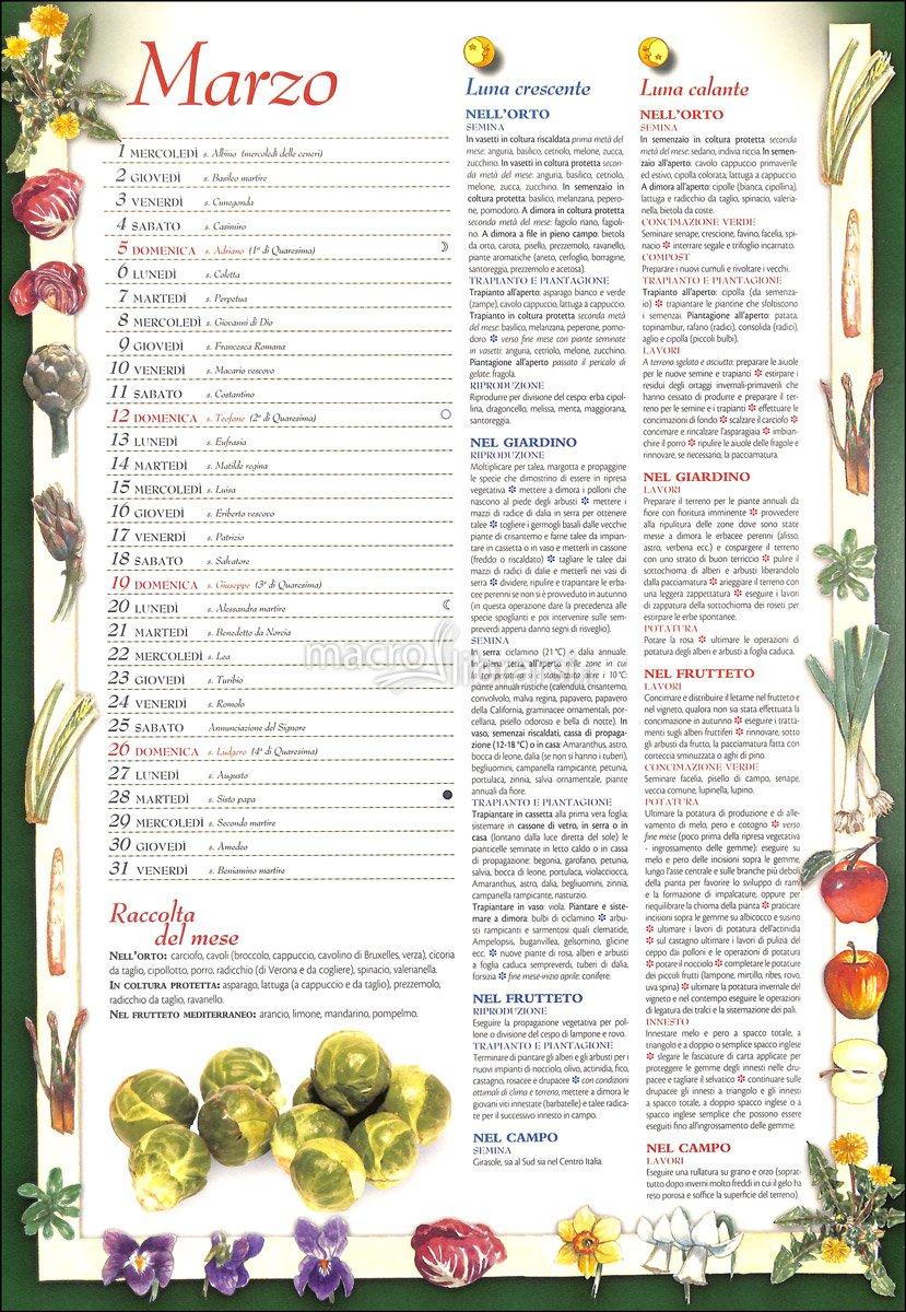 Calendario Lunare Marzo.Calendario Lunare Per La Semina Beautiful Calendario Lunare