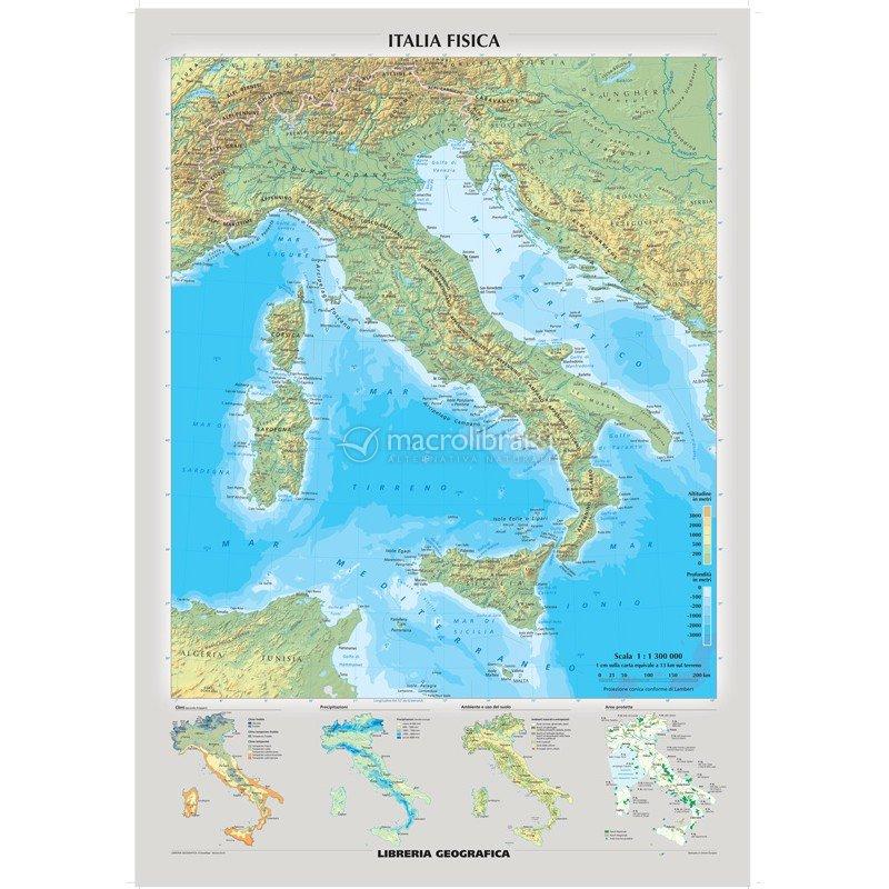 carta murale italia fisica politica fronte retro mappa