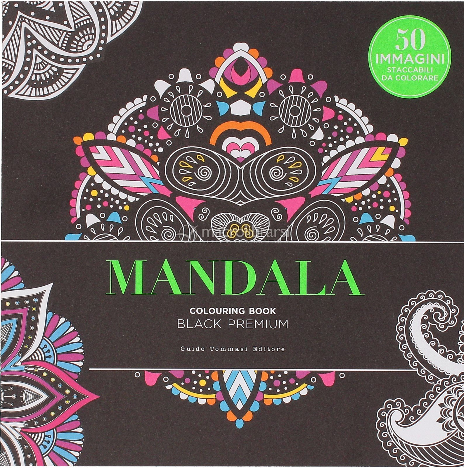 Mandala Colouring Book Black Premium Libro