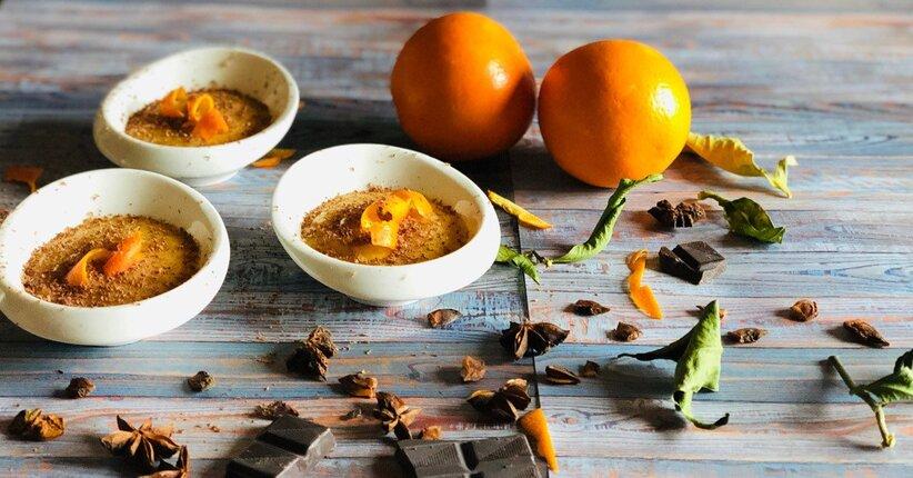 Crema all'arancia speziata, amasake e scorza al cioccolato