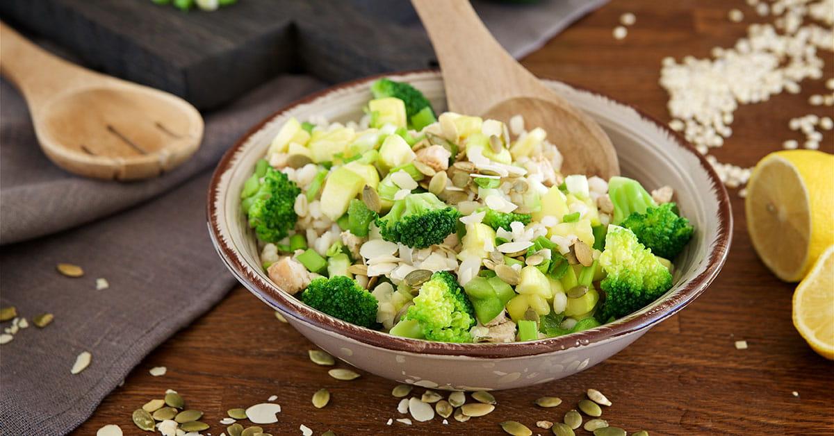 Orzotto con broccoli e tofu allo zafferano
