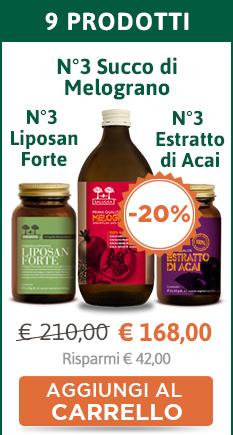 3 confezioni di Liposan Forte + 3 confezioni di Estratto di Acai + 3 confezioni di Succo di Melograno (Sconto 20%)