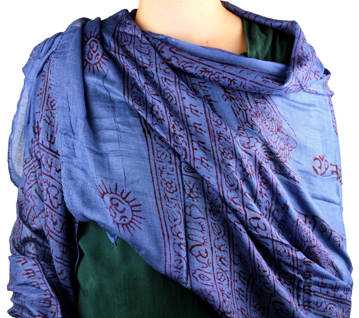 scialle mantra blu cotone per donna meditazione