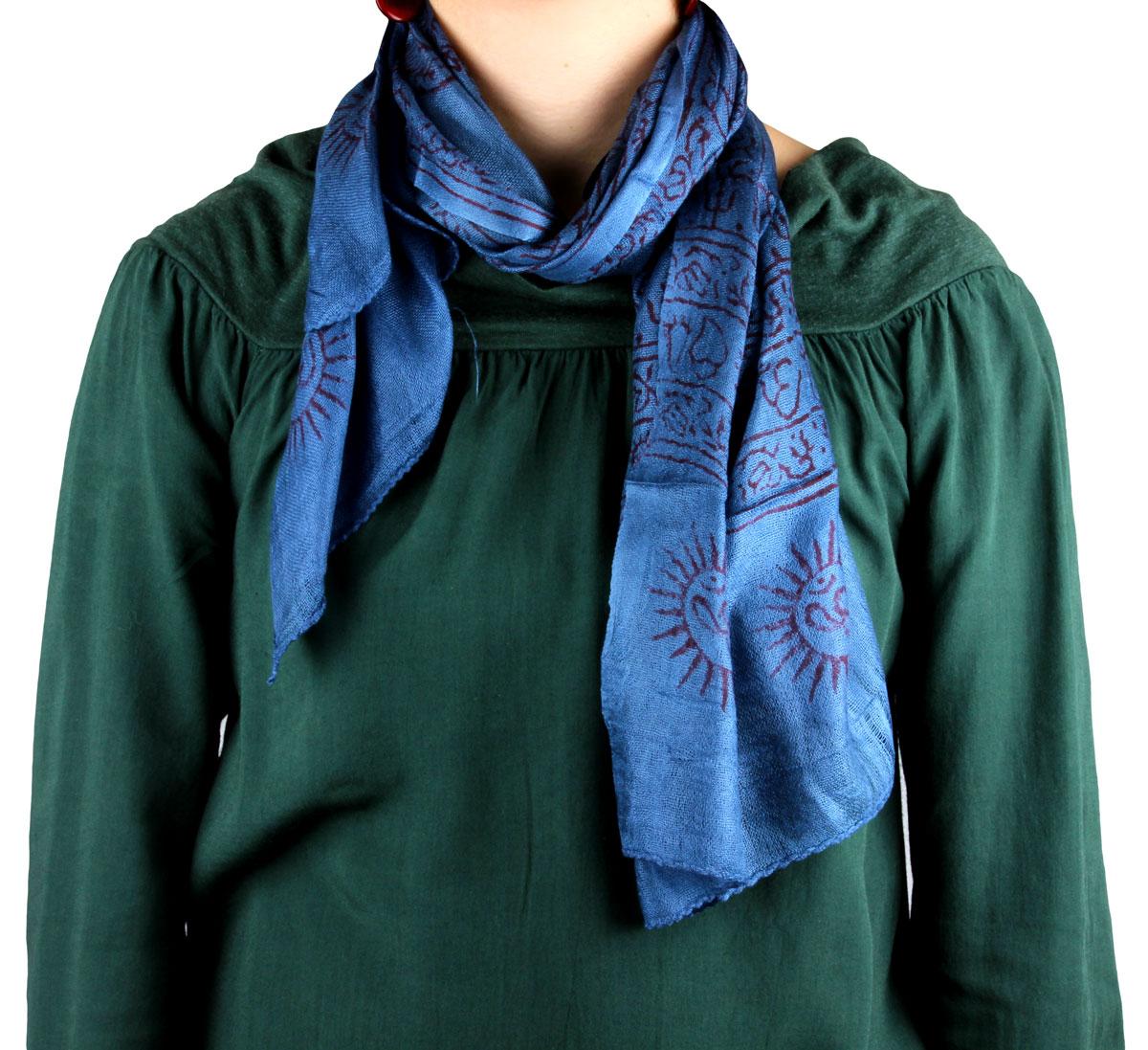 sciarpa mantra blu cotone per donna