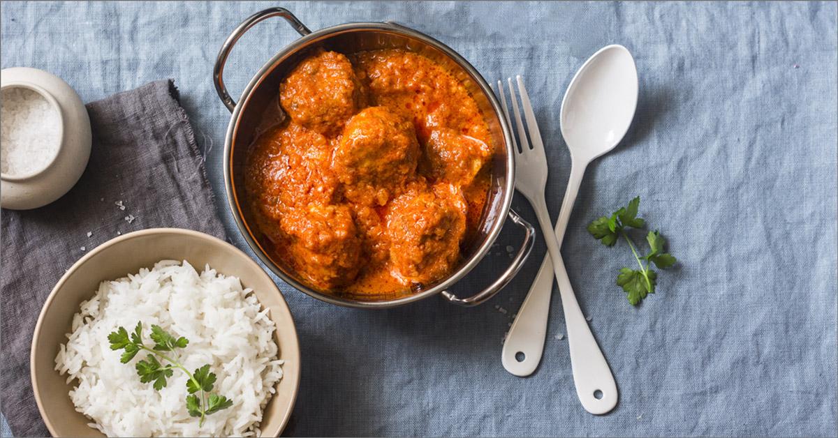 Polpette vegetali con riso thai al curry