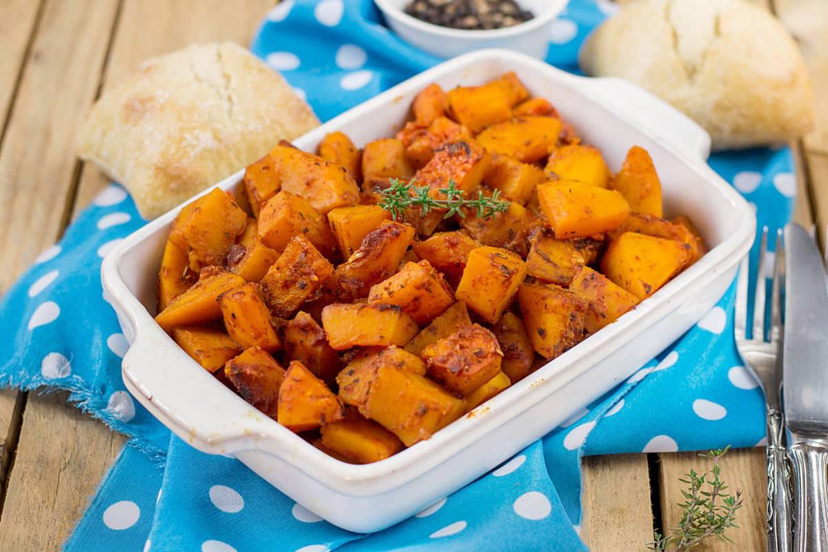 Zucca al forno in salsa di arachidi